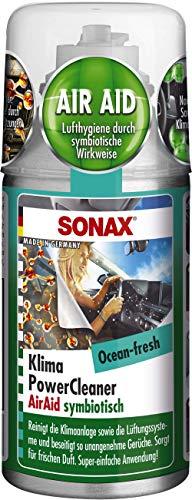 SONAX KlimaPowerCleaner AirAid symbiotisch Ocean-Fresh (100 ml) sorgt schnell und einfach für langanhaltende Lufthygiene und befreit dauerhaft von lästigen Gerüchen | Art-Nr. 03236000