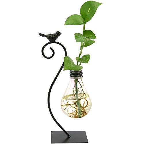 Glas Vase Tischdeko - Hydrokultur Glasvase Blumenvasen aus Metall mit Vogel Design Glühbirne Reagenzgläser Pflanzen Vasen Blumentopf als Wohnaccessoire, Büro, Dekoration, Hochzeit, Dekovase
