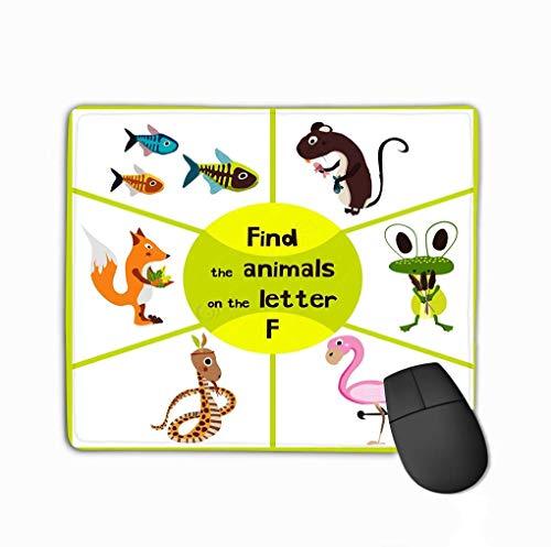muismat, grappig leren doolhof spel vinden alle schattige wilde dieren brief f roze Flamingos moeras kikker bos vos educatieve pagina