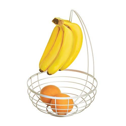 iDesign Austin corbeille de fruits avec support pour bananes, panier à fruits rond en métal, argenté mat