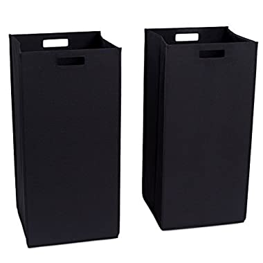 Internet's Best Collapsible Laundry Hamper   Set of 2   Dirty Clothes Sorter with Handles   Magnetic Side   Easy Storage   Folding   Black