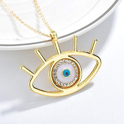 CLEARNICE Collar Turco De Mal De Ojo Zirconia Cúbica De Oro Collar Colgante Griego De Ojo Azul Griego Joyería De Moda Regalo Accesorios para Mujer