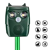 ULTPEAK Ultrasonic Animal Pest Repeller, Waterproof Outdoor Solar and USB Adapter Charge Ultrasonic Animal Control, Garden Use Flashing Cats Dogs Squirrel Birds etc Pest Repeller