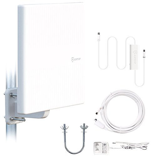 ANTOP Amplified Outdoor Antenna with Omni-Directional 360 Degree Reception, 65 Miles Indoor/Attic/Outdoor TV Antenna for FM/VHF/UHF, Tools-Free Installation,Anti-UV Coating and 16ft Coaxial Cable
