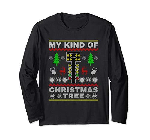 Drag Racers Racing Christmas Tree Sweater Gift T-Shirt Long