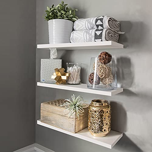 Floating Shelves White, Wall Mounted Set of 3 White Wall Shelf Modern Decorative Wall Storage Shelves for Bathroom Kitchen Living Room and More,White