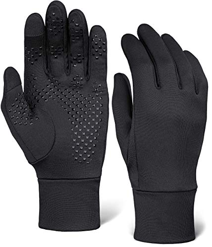 Touch Screen Running Gloves - Thermal Winter Glove Liners for Cold Weather for Men & Women - Thin, Lightweight & Warm Black Gloves for Texting, Cycling & Driving - Touchscreen Smartphone Compatible