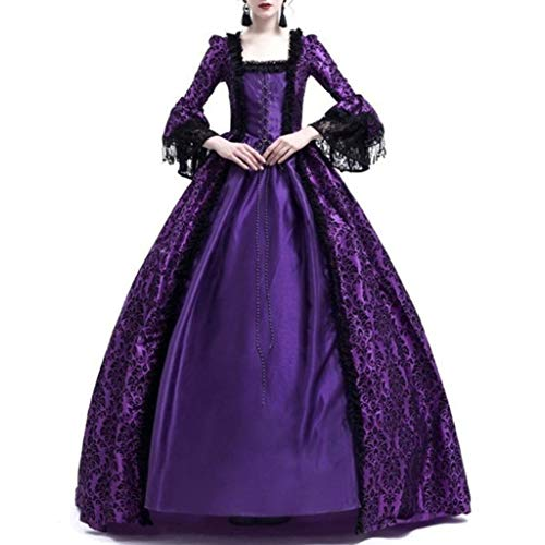 Sale!! jin&Co Women Retro Medieval Party Princess Dress Renaissance Long Sleeve Cosplay Lace Floor...
