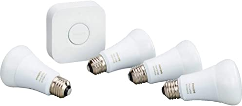 Philips Hue White Ambiance Smart Light Bulb Starter Kit, 4 A19 Smart Bulbs and 1 Hub, Works with Alexa, Apple HomeKit and ...