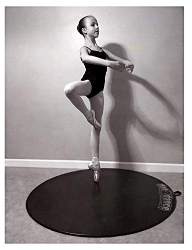 """dot2dance Portable Dance Floor - Enorme Size 47"""" Black, Authentic Marley Home Dance Studio, Multi Use with Non-Slip Gym Mat Back. Made in U.S.A."""