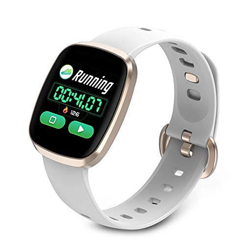 LDDCUTE Kleurenscherm, hartslagmeter, slimme armband met hartslagmeter, fitness tracker, horloge, activiteitentracker, stappenteller, bloeddrukmonitor, voor kinderen en dames, goud