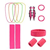 Jerbro 80s Costume for Women, 80's Retro Running Sports Headband Wristbands Leg Warmers Neon Earrings Necklace (Rose red)
