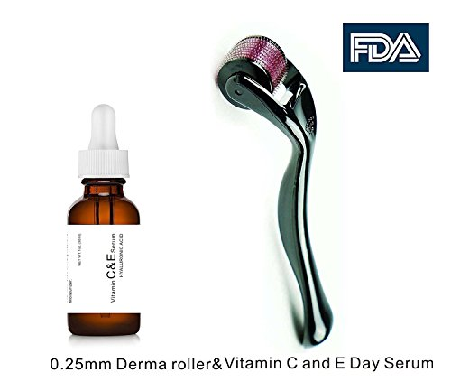 Dermapeel Vitamin C and E Day Serum with Hyaluronic Acid,Anti aging skin care product/anti wrinkle serum will fill fine lines,even skin tone and fade age spots-plus 0.25mm derma roller-one sets