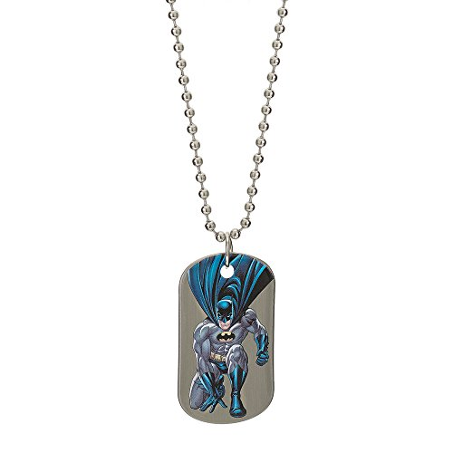 DC Comics Batman Jewelry for Men and Boys, Stainless Steel Illustrated Dog Tag Pendant, 16' Ball Chain