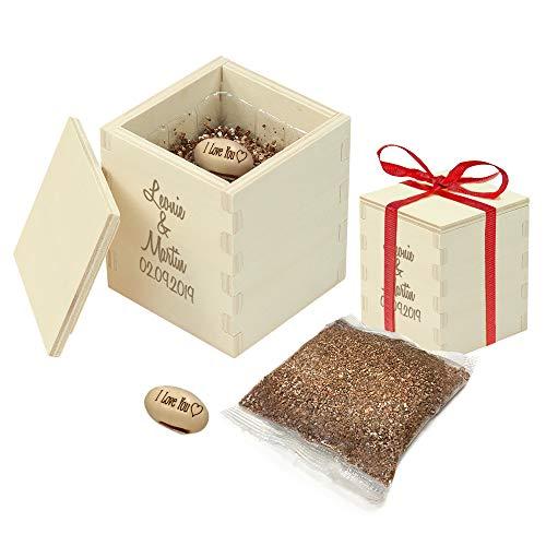 Casa Vivente Zauberbohne mit gravierter Holzbox, Personalisiert mit Namen und Datum, Pflanze mit Botschaft I Love You und Anzuchtset, Geschenk für Paare