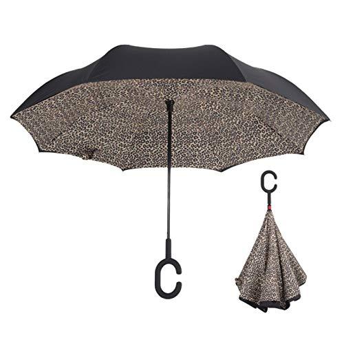 ZGMMM Paraguas inverso Unbrellas para Mujer Lluvia Reversible Protección contra Rayos UV Viento a Prueba de Lluvia ParaguasLeopardo