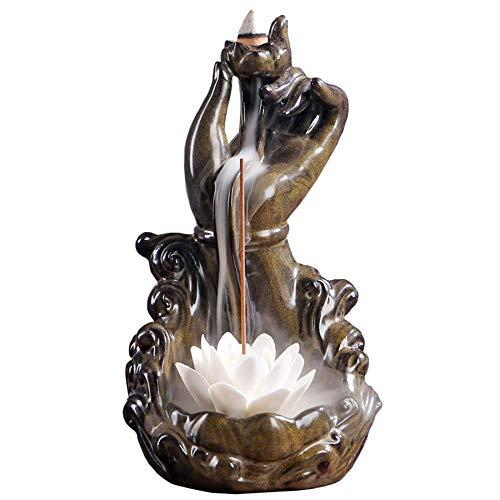 Ceramic Censer Backflow Incense Buddha Hand Holder, Aromatherapy Ornament Home Decor with 10 Cones (A/11.5x12.5x20cm)