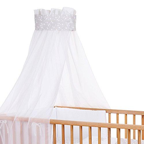 babybay Ciel de Lit d'enfants en Piqué avec Ruban pour Application d'Étoile Gris Perle/D'Étoiles Blanc 1 Unité
