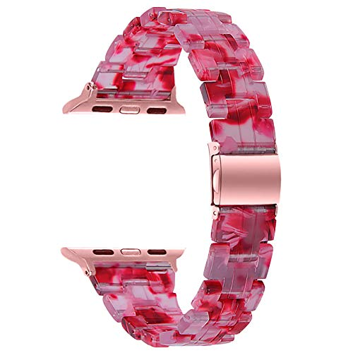 Fhony Correa de Resina para Apple Watch Correa 38mm 40mm 42mm 44mm Correa de Repuesto de Pulsera de Resina Correa de Publicación Rápida para Iwatch Series SE/6/5/4/3/2/1,Rosado,42/44mm
