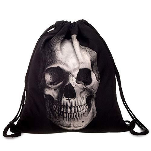 SimpleLife Waterproof Drawstring Sport Bag-Unisex Waterproof String Drawstring Backpack 3D skull Print Sack Gym School Shoe Bag,33 x 39cm