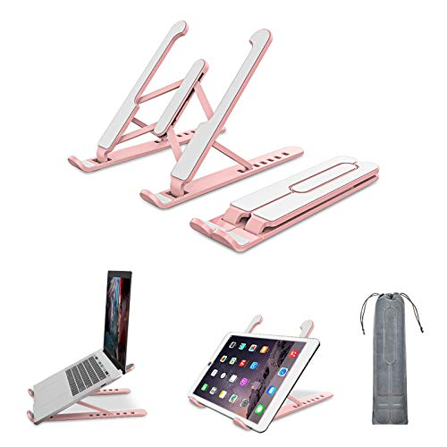 Laptop Stand, Foldable Portable Desktop Laptop Holder, Computer Stand ABS+silicone+built-in metal 6-Levels Angles Adjustable Height Compatible with Ipad, Dell, HP, Lenovo All Laptops & Tablets (Pink)