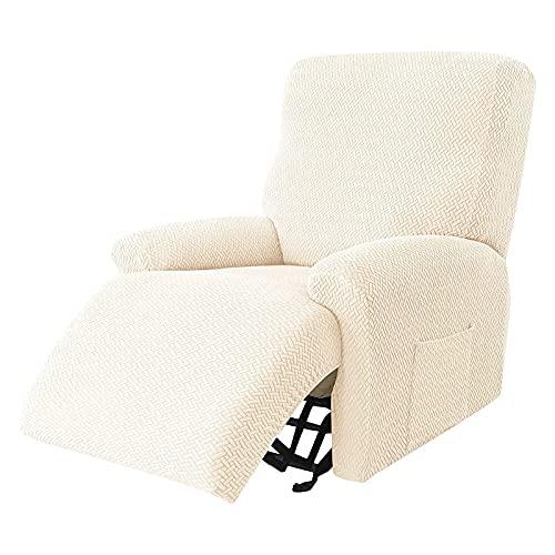 HUANXA Relaxsessel bezüge Stretch Jacquard, 1 Sitzer 4-teiliger Ruhesessel bezüge Sesselbezug Sesselschoner Anti-rutsch mit Seitentaschen Sofabezug passend für Liegesessel