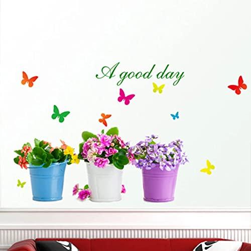 Rjjrr Nuevo Diy Pegatina De Pared Planta En Maceta Bonsai Decoración Del Hogar Pegatina De Mariposa Para Sala De Estar Jardín Decoración Del Hogar Impermeable Habitación De Los Ni?Os