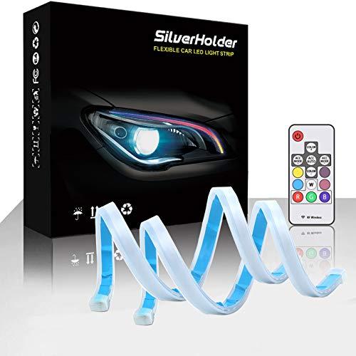 SilverHolder LED Headlight Strip Tube Light 17.7 Inch Flexible Car Led Light Strip Multi Color Daytime Running Light Waterproof DRL Neon Lights Turn Signal Bulb Sequential Switchback 2 PCS