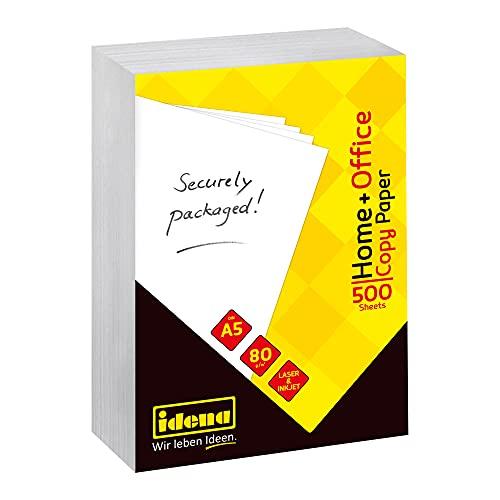 Idena 10547 - Kopierpapier DIN A5, 500 Blatt, weiß, Papierqualität 80g/m², ideal für den täglichen Gebrauch, zum Drucken, Kopieren und Faxen, geeignet für Laser & Inkjet