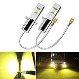 LEDフォグランプ H3 黄色 イエロー-ポーペ(POOPEE) 60W 1200LM 3000K 12V/24V兼用 無極性 CSPチップ搭載 両面発光 2本セット 1年保証