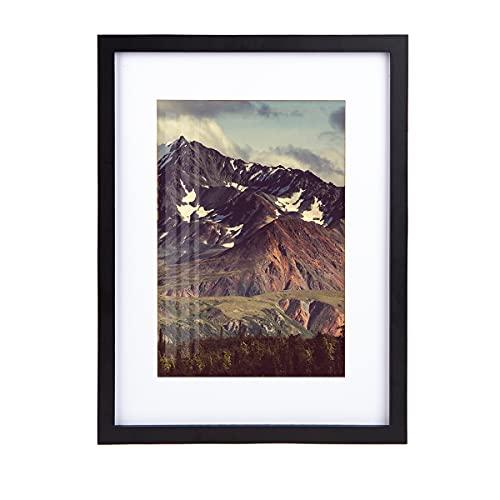 Postergaleria - Marco de fotos de 30 x 40 cm, con paspartú negro, madera, madera MDF, marco de madera de 16 pulgadas, moderno natural con cristal acrílico/marco de retrato/marco intercambiable (negro)