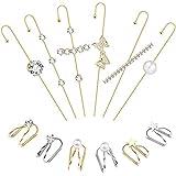 12 Pcs Ear Wrap Crawler Hook Earrings Ear Cuffs Earrings for Women Girls Butterfly hook Climber Piercing Cartilage Clip On Earrings