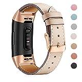 Mornex Bracelet Compatible Fitbit Charge 3 en Cuir,Bande de Remplacement Réglable Sangle Rechange Métal Connecteurs Accessoires...