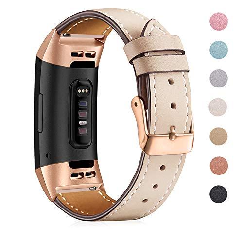 Mornexband kompatibel Fitbit Charge 3 Strap/Charge 3 SE Lederband, klassisch verstellbares Ersatz-Armband Fitness-Zubehör Metallverbinder, 11.Black-Brown, 5.5\'\'-8.1\'\' …