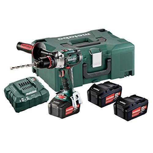 Metabo 602192960 602192960-Taladro percutor a bateria 18V / 3x 4,0 Ah Li-Ion SB 18 LTX Impuls con maletín, 0 W, 18 V, Negro/Verde/Rojo