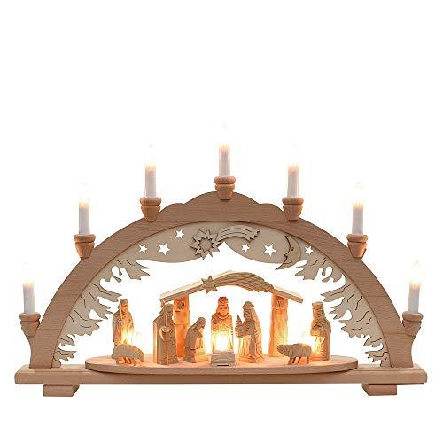 Holz Schwibbogen Krippe/Stall geschnitzt 57 x 9 x 38 cm 230 V Kabel 10 flammig SPK - Vogtlandsouvenir