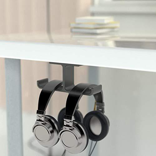 OLRWSLG - Soporte para auriculares debajo del escritorio, soporte para auriculares para videojuegos, soporte doble para auriculares móviles, para auriculares (negro)