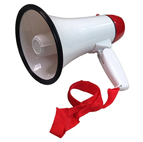 Ideas In Life Portable Megaphone 20 Watt Power Megaphone Speaker Bullhorn Voice and Siren/Alarm Modes with Volume Control and Strap