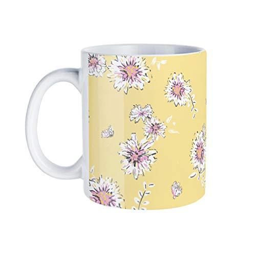 KittyliNO5 Taza de café de porcelana, diseño de flores, color amarillo