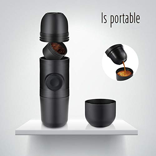 FEZBD Handgeperst Draagbare Koffiemachine, Espressomachine met Outdoor Koffiebeker Mini Koffiepot, Geen Elektronische Stroom, voor Home Office Reizen Buiten