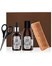The Man Company Beard Grooming Kit for Beard Growth with Almond and Thyme - Natural Beard Oil (50ml), Beard Wash (100ml), Scissors, Comb - Gift Set for Men