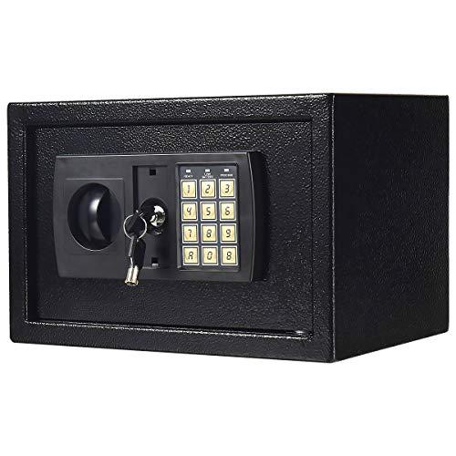 COSTWAY Tresor schwarz, Schranktresor Möbeltresor, Elektronischer Safe, Schranksafe Doppelbolzenverriegelung