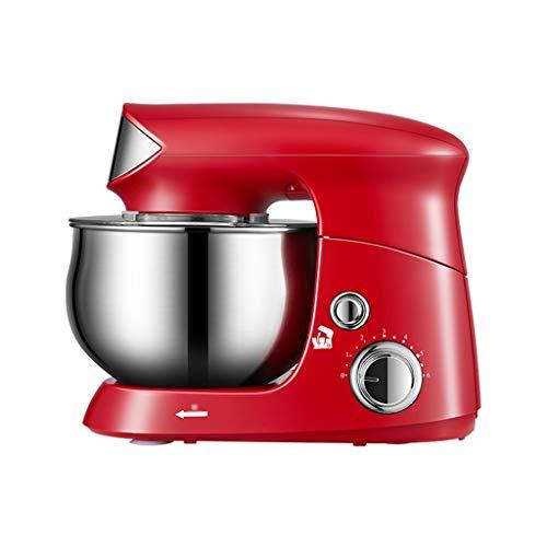 6-velocidad Eléctrica Robot de Cocina Batidor de Huevo Masa Multifuncional Amasadora 3.5L de Alimentos Mezcladores con Gancho Amasador, Batidor Plano, el Batidor de Alambre ( Color : Red )
