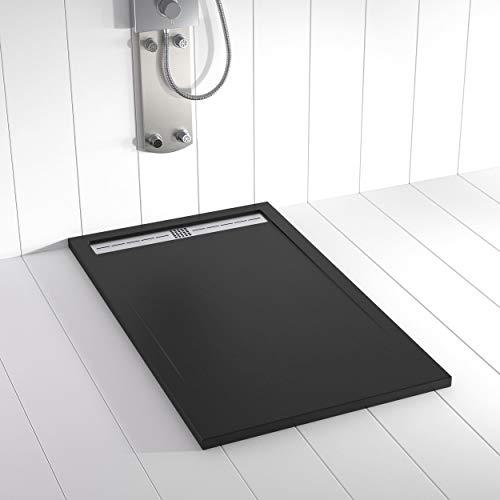 Shower Online Plato de ducha Resina FLOW - 70x100 - Textura Pizarra - Antideslizante - Todas las medidas disponibles - Incluye Rejilla Inox y Sifón - Negro RAL 9005