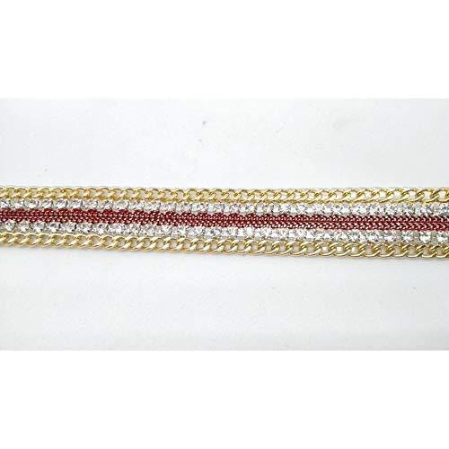 Vlecht thermo-lijm Swarovski zilver ketting en goud 50 cm hoog 15 mm Rosso