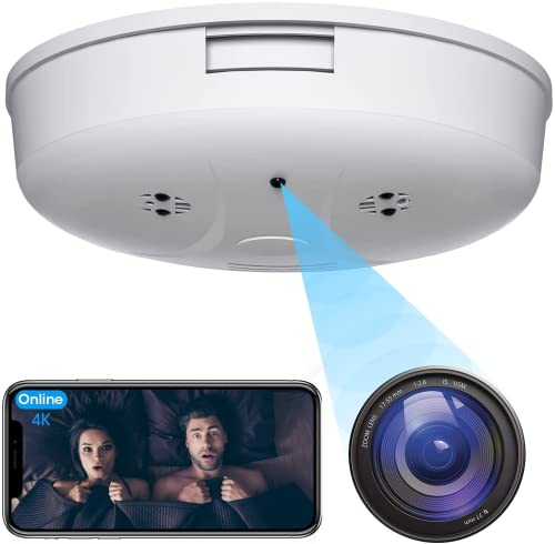 4K Hidden Camera Smoke Detector-HD 1080P Wireless Hidden Cameras Mini Security Spy Camera WiFi Night Vision and Motion Detection Video Recorder Real-time View Home Security and Outdoor Nanny Camera