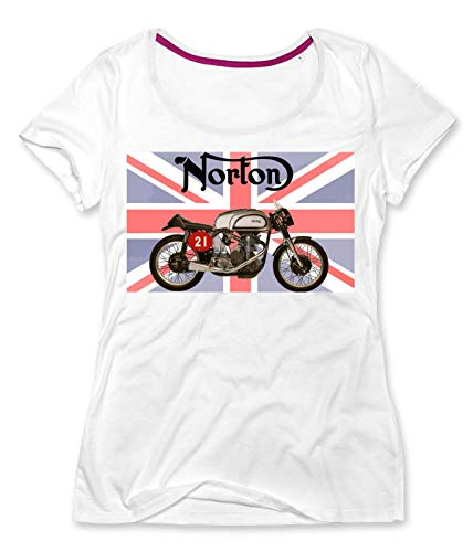PC Hardware Store Norton Bike Camiseta con Cuello Redondo de Mujer X-Large