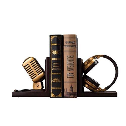 ZRL Buchbinder/Buchstützen, Kunstharz, goldfarben, Mikrofon, Kopfhörer, Retro, Buchständer, Basteln, Ornamente, Buchblock, Büro, Studium, Buchhalter, Regal, dekorativ