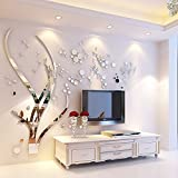 Tree Acrylic Art 3D Mirror Flower Wall Sticker DIY Home Wall Decal Decoration Sofa TV Wall Removable Wall Sticker(Silver Left)