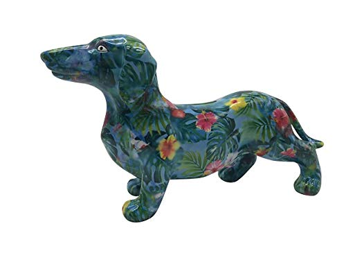 Pomme Pidou Spardose Dackel Frankie-blau Blätter-Hund-Sparbüchse-Sparschwein-Geldgeschenk
